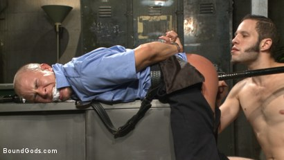 Photo number 4 from Arrogant Cop Tormented by His Prisoner  shot for Bound Gods on Kink.com. Featuring Wolf Hudson and Eli Hunter in hardcore BDSM & Fetish porn.