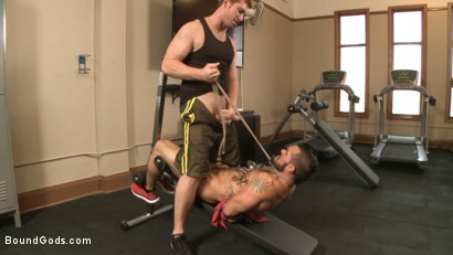 Photo number 4 from Ripped gym rat Aarin Asker takes a giant fist while in suspension shot for Bound Gods on Kink.com. Featuring Connor Maguire and Aarin Asker in hardcore BDSM & Fetish porn.