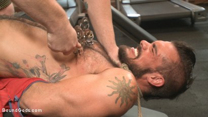 Photo number 6 from Ripped gym rat Aarin Asker takes a giant fist while in suspension shot for Bound Gods on Kink.com. Featuring Connor Maguire and Aarin Asker in hardcore BDSM & Fetish porn.