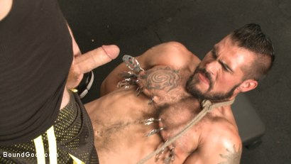 Photo number 5 from Ripped gym rat Aarin Asker takes a giant fist while in suspension shot for Bound Gods on Kink.com. Featuring Connor Maguire and Aarin Asker in hardcore BDSM & Fetish porn.