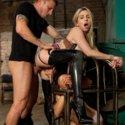 Horny sub girls Ziggy Star and Christie Stevens fucked hard in brutal rope bondage