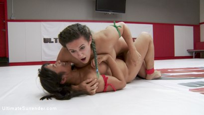 Photo number 4 from Orgasmic Wrestlers meet on the mats. It's inevitable that One will cum shot for Ultimate Surrender on Kink.com. Featuring Mia Li and Penny Barber in hardcore BDSM & Fetish porn.