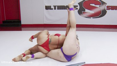 Photo number 15 from 2015 Summer Vengeance Finals the Two best wrestlers face off shot for Ultimate Surrender on Kink.com. Featuring Mistress Kara and Izamar Gutierrez in hardcore BDSM & Fetish porn.
