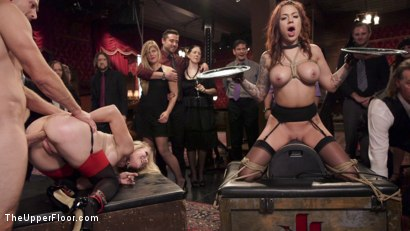 Photo number 7 from Busty Slave Girl Anally Destroyed at Kinky Brunch shot for The Upper Floor on Kink.com. Featuring Simone Sonay, Bill Bailey and Karmen Karma in hardcore BDSM & Fetish porn.