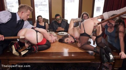 Photo number 9 from Busty Slave Girl Anally Destroyed at Kinky Brunch shot for The Upper Floor on Kink.com. Featuring Simone Sonay, Bill Bailey and Karmen Karma in hardcore BDSM & Fetish porn.