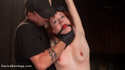 Photo number 4 from Getting The Devil Out shot for Device Bondage on Kink.com. Featuring Violet Monroe and The Pope in hardcore BDSM & Fetish porn.
