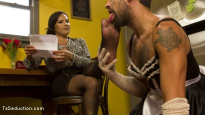 Photo number 4 from Punished By Her Dominating Cock shot for TS Seduction on Kink.com. Featuring DJ and TS Foxxy in hardcore BDSM & Fetish porn.