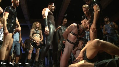 Photo number 5 from Cass Bolton is a Folsom Street Fair Whore shot for Bound in Public on Kink.com. Featuring Christian Wilde, Jessie Colter and Cass Bolton in hardcore BDSM & Fetish porn.