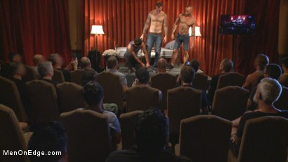 Photo number 1 from Edged in front of a live audience Christian Wilde blows a massive load shot for Men On Edge on Kink.com. Featuring Christian Wilde in hardcore BDSM & Fetish porn.