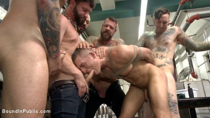 Photo number 9 from The Laundromat Spitroast  shot for Bound in Public on Kink.com. Featuring Tyler Rush, Rocco Steele and Ruckus in hardcore BDSM & Fetish porn.