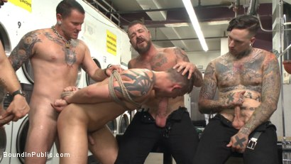 Photo number 7 from The Laundromat Spitroast  shot for Bound in Public on Kink.com. Featuring Tyler Rush, Rocco Steele and Ruckus in hardcore BDSM & Fetish porn.