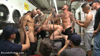 Photo number 13 from The Laundromat Spitroast  shot for Bound in Public on Kink.com. Featuring Tyler Rush, Rocco Steele and Ruckus in hardcore BDSM & Fetish porn.