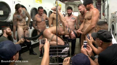 Photo number 10 from The Laundromat Spitroast shot for Bound in Public on Kink.com. Featuring Tyler Rush, Rocco Steele and Ruckus in hardcore BDSM & Fetish porn.