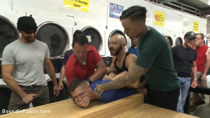 Photo number 2 from The Laundromat Spitroast  shot for Bound in Public on Kink.com. Featuring Tyler Rush, Rocco Steele and Ruckus in hardcore BDSM & Fetish porn.
