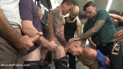 Photo number 3 from The Laundromat Spitroast  shot for Bound in Public on Kink.com. Featuring Tyler Rush, Rocco Steele and Ruckus in hardcore BDSM & Fetish porn.