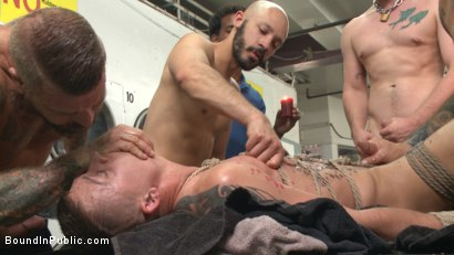 Photo number 2 from Edged, tormented and gang fucked in a dirty laundromat  shot for Bound in Public on Kink.com. Featuring Tyler Rush, Rocco Steele and Ruckus in hardcore BDSM & Fetish porn.