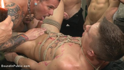 Photo number 3 from Edged, tormented and gang fucked in a dirty laundromat  shot for Bound in Public on Kink.com. Featuring Tyler Rush, Rocco Steele and Ruckus in hardcore BDSM & Fetish porn.