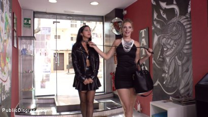 Photo number 1 from Cum Dumpster Loves Being Passed Around a Punk Show  shot for Public Disgrace on Kink.com. Featuring Mona Wales, Julia de Lucia and Miguel Zayas in hardcore BDSM & Fetish porn.