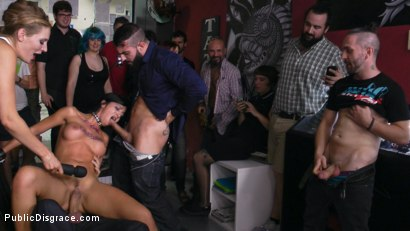 Photo number 9 from Cum Dumpster Loves Being Passed Around a Punk Show  shot for Public Disgrace on Kink.com. Featuring Mona Wales, Julia de Lucia and Miguel Zayas in hardcore BDSM & Fetish porn.