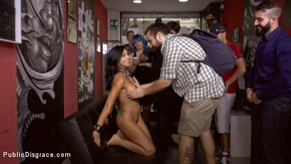 Photo number 3 from Cum Dumpster Loves Being Passed Around a Punk Show  shot for Public Disgrace on Kink.com. Featuring Mona Wales, Julia de Lucia and Miguel Zayas in hardcore BDSM & Fetish porn.