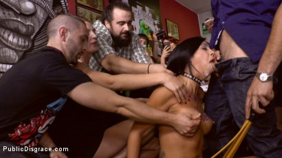 Photo number 5 from Cum Dumpster Loves Being Passed Around a Punk Show  shot for Public Disgrace on Kink.com. Featuring Mona Wales, Julia de Lucia and Miguel Zayas in hardcore BDSM & Fetish porn.