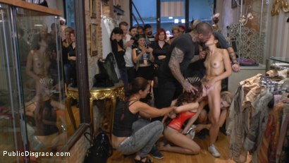 Photo number 15 from Busty Brunette Extremely Afraid of Electricity Gets Shocked Outdoors shot for Public Disgrace on Kink.com. Featuring Mona Wales, Zenda Sexy, Rob Diesel and Valentina Bianco in hardcore BDSM & Fetish porn.