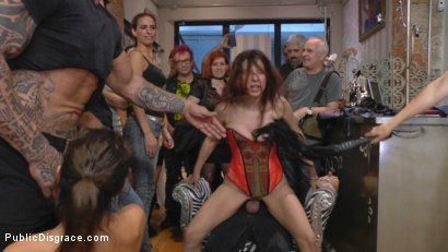 Photo number 19 from Busty Brunette Extremely Afraid of Electricity Gets Shocked Outdoors shot for Public Disgrace on Kink.com. Featuring Mona Wales, Zenda Sexy, Rob Diesel and Valentina Bianco in hardcore BDSM & Fetish porn.
