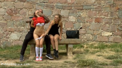 Photo number 2 from Busty Brunette Extremely Afraid of Electricity Gets Shocked Outdoors shot for Public Disgrace on Kink.com. Featuring Mona Wales, Zenda Sexy, Rob Diesel and Valentina Bianco in hardcore BDSM & Fetish porn.