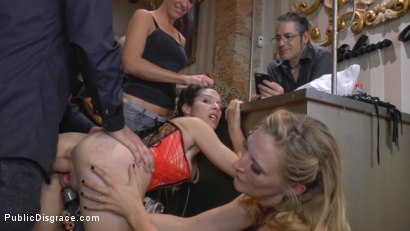 Photo number 21 from Busty Brunette Extremely Afraid of Electricity Gets Shocked Outdoors shot for Public Disgrace on Kink.com. Featuring Mona Wales, Zenda Sexy, Rob Diesel and Valentina Bianco in hardcore BDSM & Fetish porn.