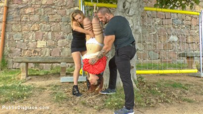 Photo number 4 from Busty Brunette Extremely Afraid of Electricity Gets Shocked Outdoors shot for Public Disgrace on Kink.com. Featuring Mona Wales, Zenda Sexy, Rob Diesel and Valentina Bianco in hardcore BDSM & Fetish porn.