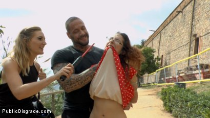 Photo number 5 from Busty Brunette Extremely Afraid of Electricity Gets Shocked Outdoors shot for Public Disgrace on Kink.com. Featuring Mona Wales, Zenda Sexy, Rob Diesel and Valentina Bianco in hardcore BDSM & Fetish porn.