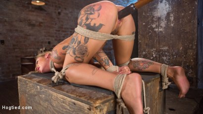 Photo number 15 from Stunning Tattooed Babe Made to Endure Torment in Brutal Bondage  shot for Hogtied on Kink.com. Featuring Kleio Valentien and The Pope in hardcore BDSM & Fetish porn.