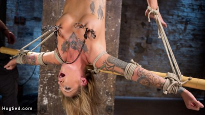 Photo number 16 from Stunning Tattooed Babe Made to Endure Torment in Brutal Bondage  shot for Hogtied on Kink.com. Featuring Kleio Valentien and The Pope in hardcore BDSM & Fetish porn.