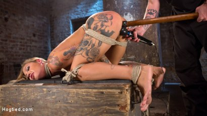 Photo number 3 from Stunning Tattooed Babe Made to Endure Torment in Brutal Bondage  shot for Hogtied on Kink.com. Featuring Kleio Valentien and The Pope in hardcore BDSM & Fetish porn.