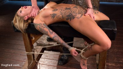 Photo number 4 from Stunning Tattooed Babe Made to Endure Torment in Brutal Bondage  shot for Hogtied on Kink.com. Featuring Kleio Valentien and The Pope in hardcore BDSM & Fetish porn.