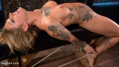 Photo number 5 from Stunning Tattooed Babe Made to Endure Torment in Brutal Bondage  shot for Hogtied on Kink.com. Featuring Kleio Valentien and The Pope in hardcore BDSM & Fetish porn.