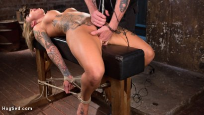 Photo number 6 from Stunning Tattooed Babe Made to Endure Torment in Brutal Bondage  shot for Hogtied on Kink.com. Featuring Kleio Valentien and The Pope in hardcore BDSM & Fetish porn.