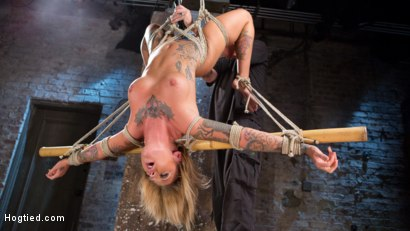 Photo number 8 from Stunning Tattooed Babe Made to Endure Torment in Brutal Bondage  shot for Hogtied on Kink.com. Featuring Kleio Valentien and The Pope in hardcore BDSM & Fetish porn.