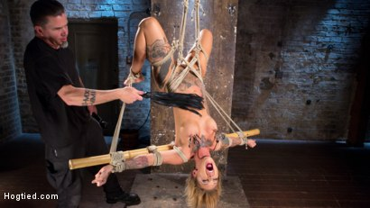 Photo number 10 from Stunning Tattooed Babe Made to Endure Torment in Brutal Bondage  shot for Hogtied on Kink.com. Featuring Kleio Valentien and The Pope in hardcore BDSM & Fetish porn.