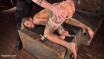 Photo number 13 from Stunning Tattooed Babe Made to Endure Torment in Brutal Bondage  shot for Hogtied on Kink.com. Featuring Kleio Valentien and The Pope in hardcore BDSM & Fetish porn.