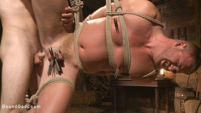 Photo number 10 from Farmboy punished for jerking off on the job shot for Bound Gods on Kink.com. Featuring Christian Wilde and Josh Peters in hardcore BDSM & Fetish porn.
