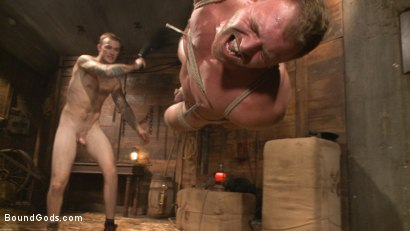 Photo number 8 from Farmboy punished for jerking off on the job shot for Bound Gods on Kink.com. Featuring Christian Wilde and Josh Peters in hardcore BDSM & Fetish porn.