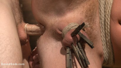 Photo number 9 from Farmboy punished for jerking off on the job shot for Bound Gods on Kink.com. Featuring Christian Wilde and Josh Peters in hardcore BDSM & Fetish porn.
