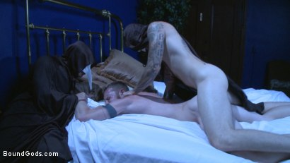 Photo number 1 from The Cursed and The Damned  shot for Bound Gods on Kink.com. Featuring Christian Wilde, Jessie Colter and Cass Bolton in hardcore BDSM & Fetish porn.