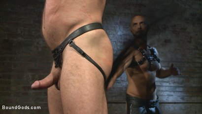 Photo number 3 from Cock hungry leather studs play in a dark basement shot for boundgods on Kink.com. Featuring Hugh Hunter and Jessie Colter in hardcore BDSM & Fetish porn.