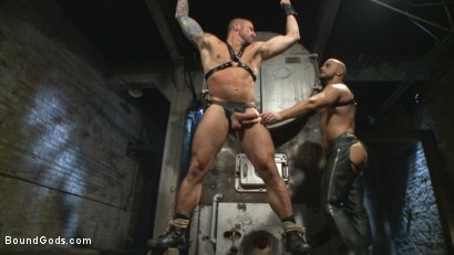 Photo number 2 from Cock hungry leather studs play in a dark basement shot for boundgods on Kink.com. Featuring Hugh Hunter and Jessie Colter in hardcore BDSM & Fetish porn.