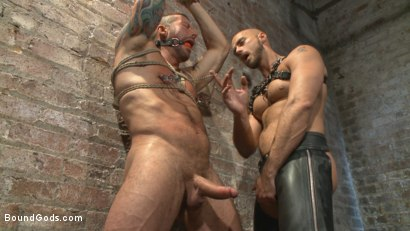 Photo number 6 from Cock hungry leather studs play in a dark basement shot for boundgods on Kink.com. Featuring Hugh Hunter and Jessie Colter in hardcore BDSM & Fetish porn.