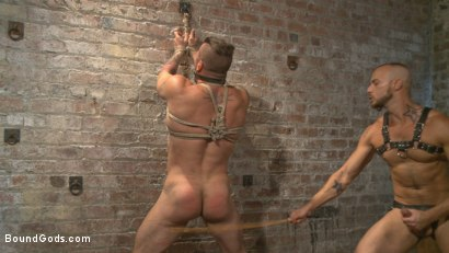 Photo number 8 from Cock hungry leather studs play in a dark basement shot for Bound Gods on Kink.com. Featuring Hugh Hunter and Jessie Colter in hardcore BDSM & Fetish porn.