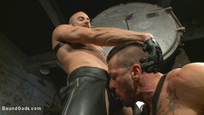 Photo number 1 from Cock hungry leather studs play in a dark basement shot for Bound Gods on Kink.com. Featuring Hugh Hunter and Jessie Colter in hardcore BDSM & Fetish porn.