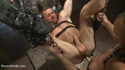 Photo number 11 from Cock hungry leather studs play in a dark basement shot for Bound Gods on Kink.com. Featuring Hugh Hunter and Jessie Colter in hardcore BDSM & Fetish porn.